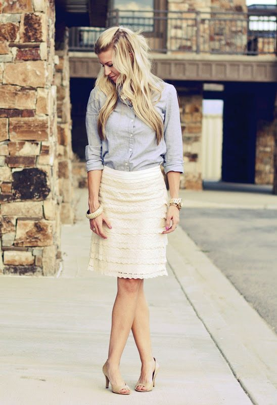 lace and chambray