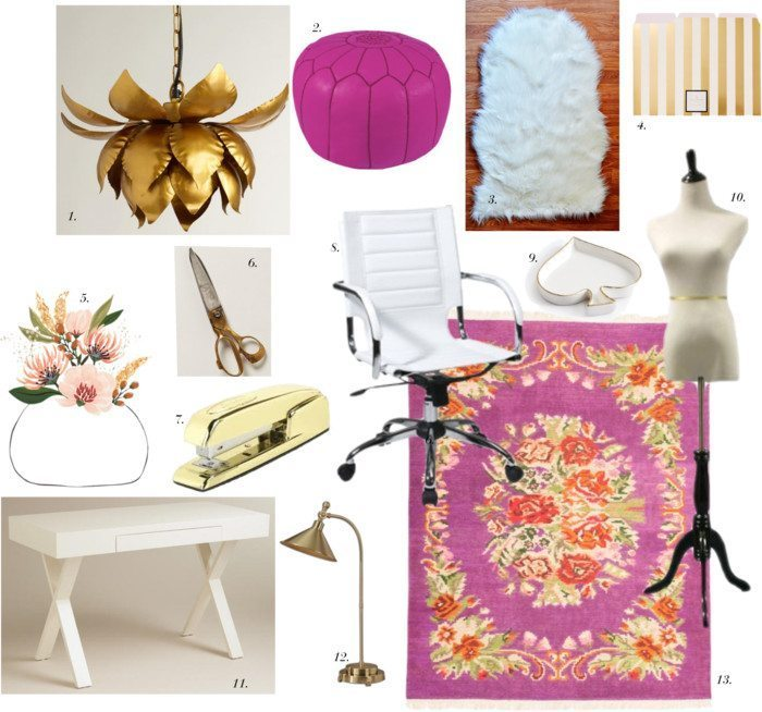 OFFICE INSPIRATION: WHITE + GOLD + ORCHID