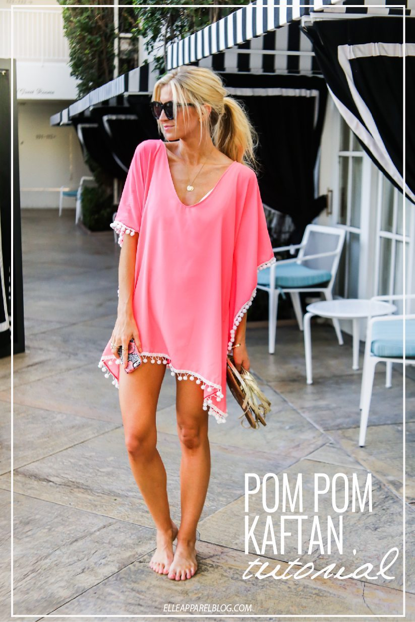 Pink Pom Pom Trim Kaftan Swim Cover Up Tutorial.