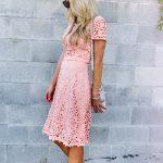 Coral laser cut out dress.