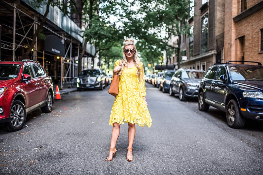 Yellow lace dress with bell sleeves for NYFW SS17