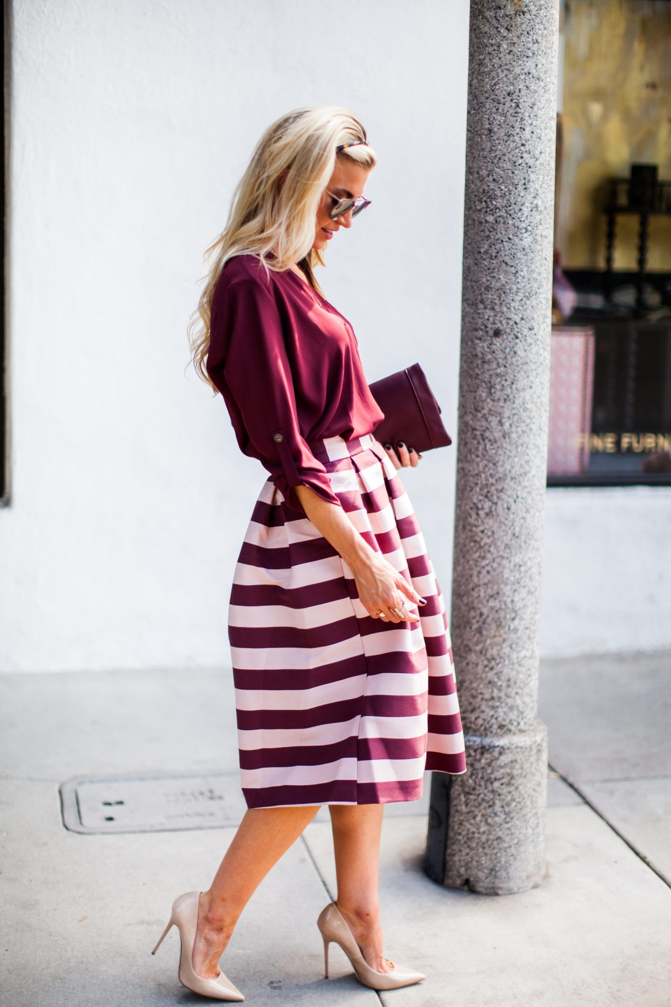 Bordeaux and pink striped pleated midi skirt.