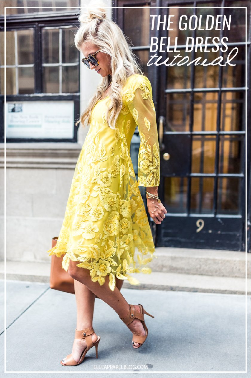 The Golden Yellow Bell Sleeve Lace New York Fashion Week Dress Sewing Tutorial