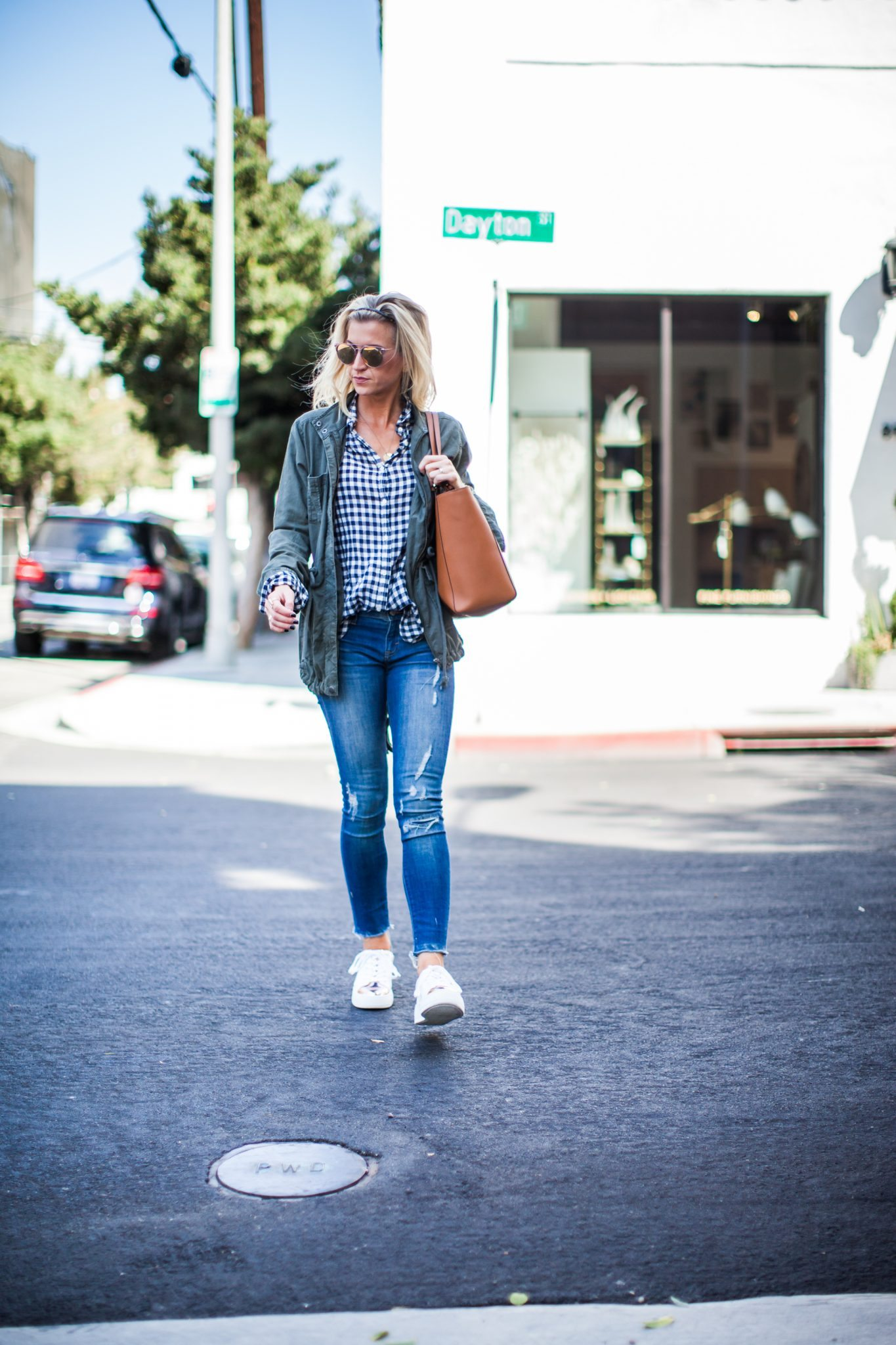 Casual fall style- Gingham top + utility jacket + gold toe sneakers.