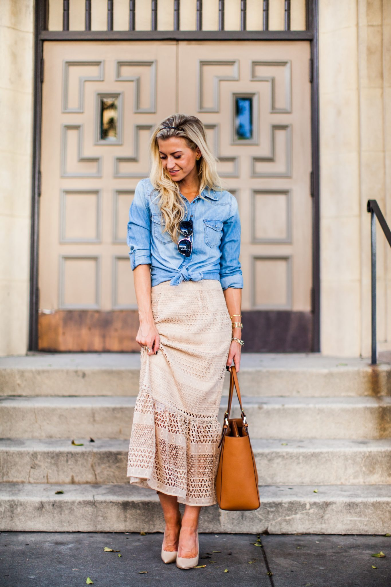 Champagne lace peplum midi skirt + chambray top