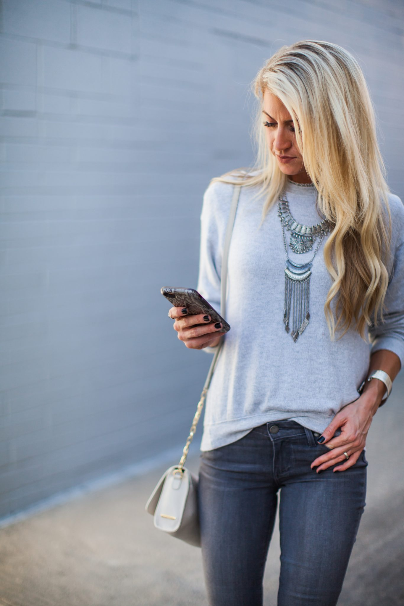 Shades of grey + statement silver necklace