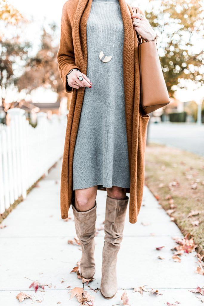 Grey sweater dress + long mustard cardigan.