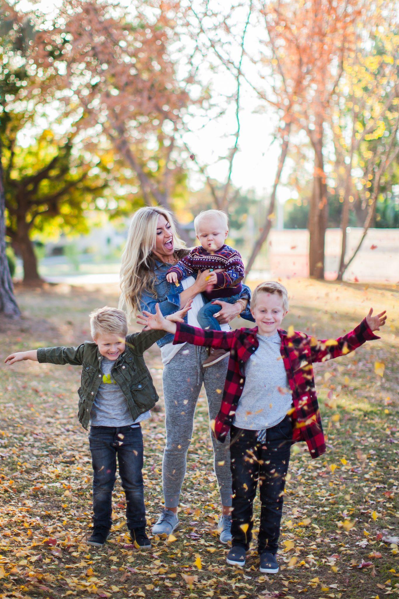 Fall family casual look.