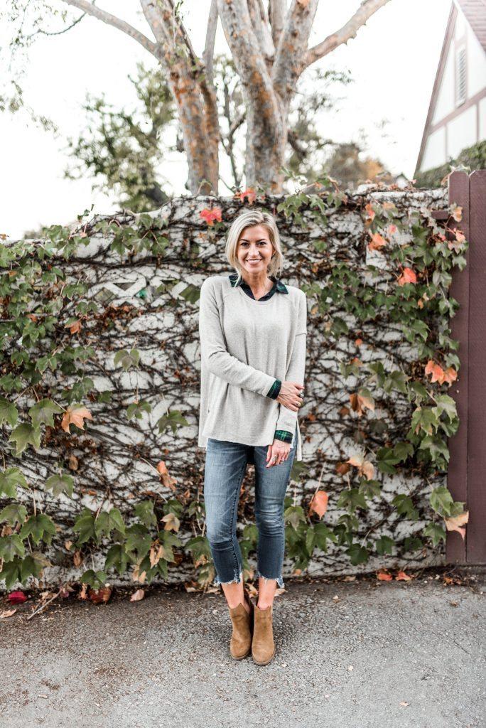 Hunter green plaid flannel + neutral sweater.