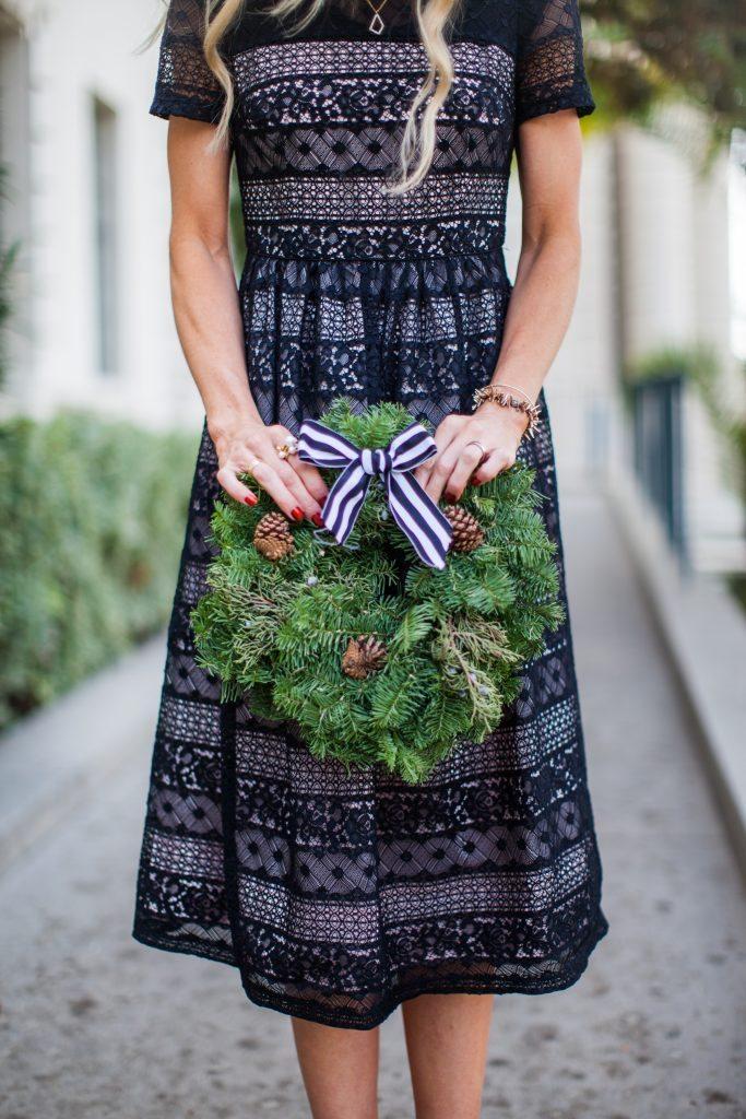 Black lace holiday dress.