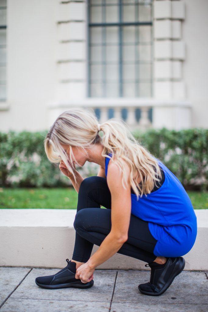 Black + blue athleisure look