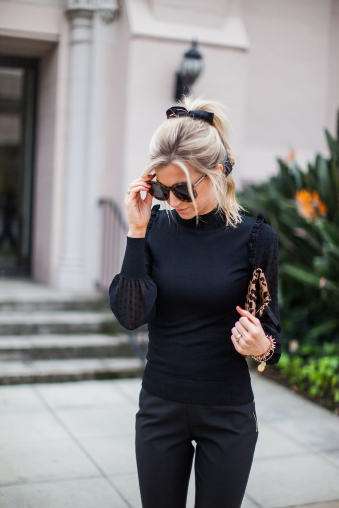 BLACK RUFFLES + BOW PONYTAIL