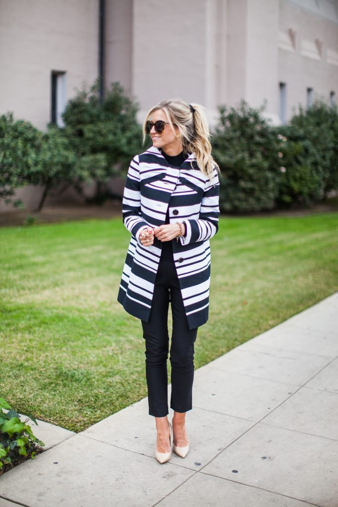 BLACK AND WHITE STRIPED BOW COAT