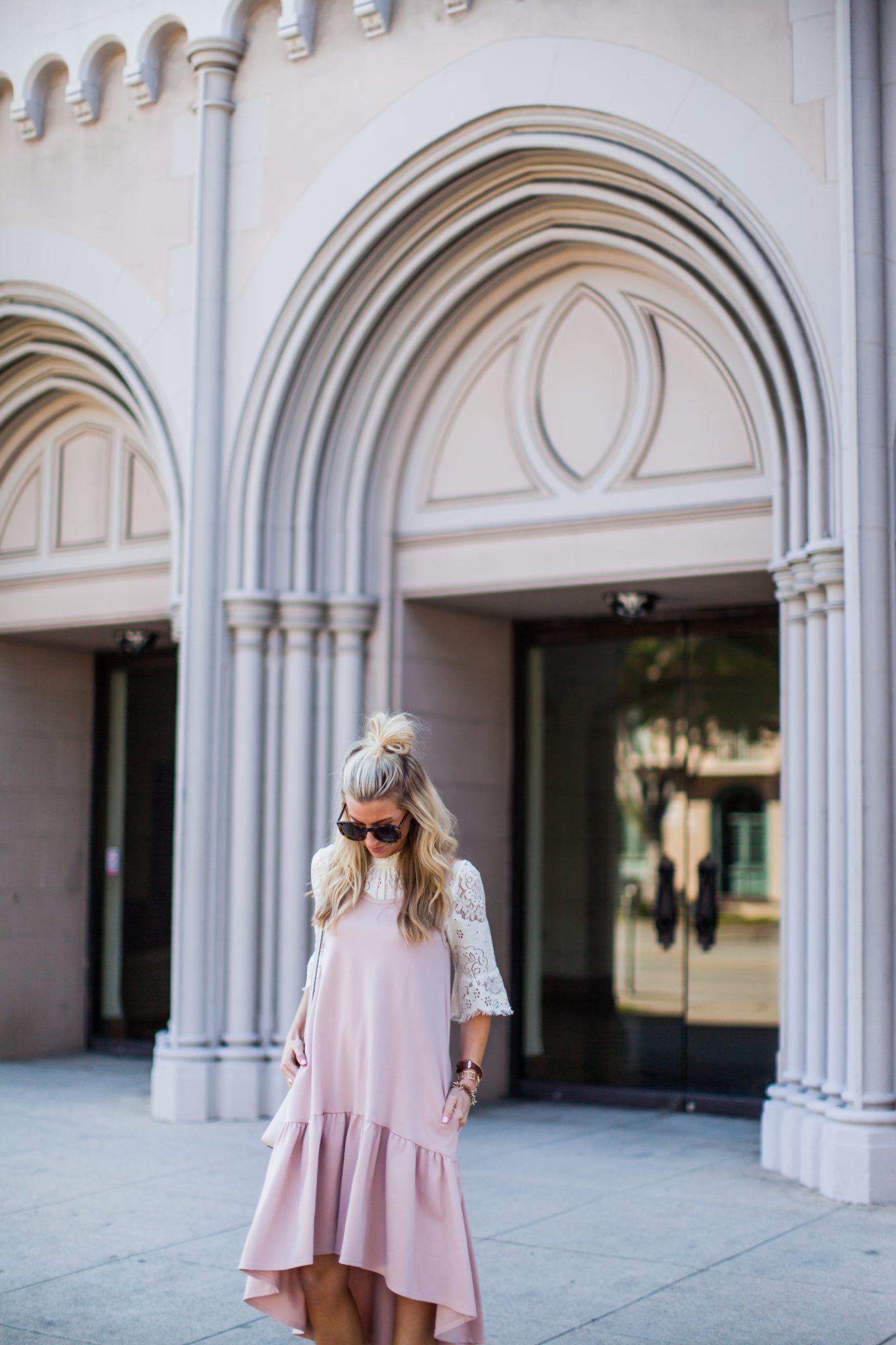 Blush ruffle drop waist dress + lace top