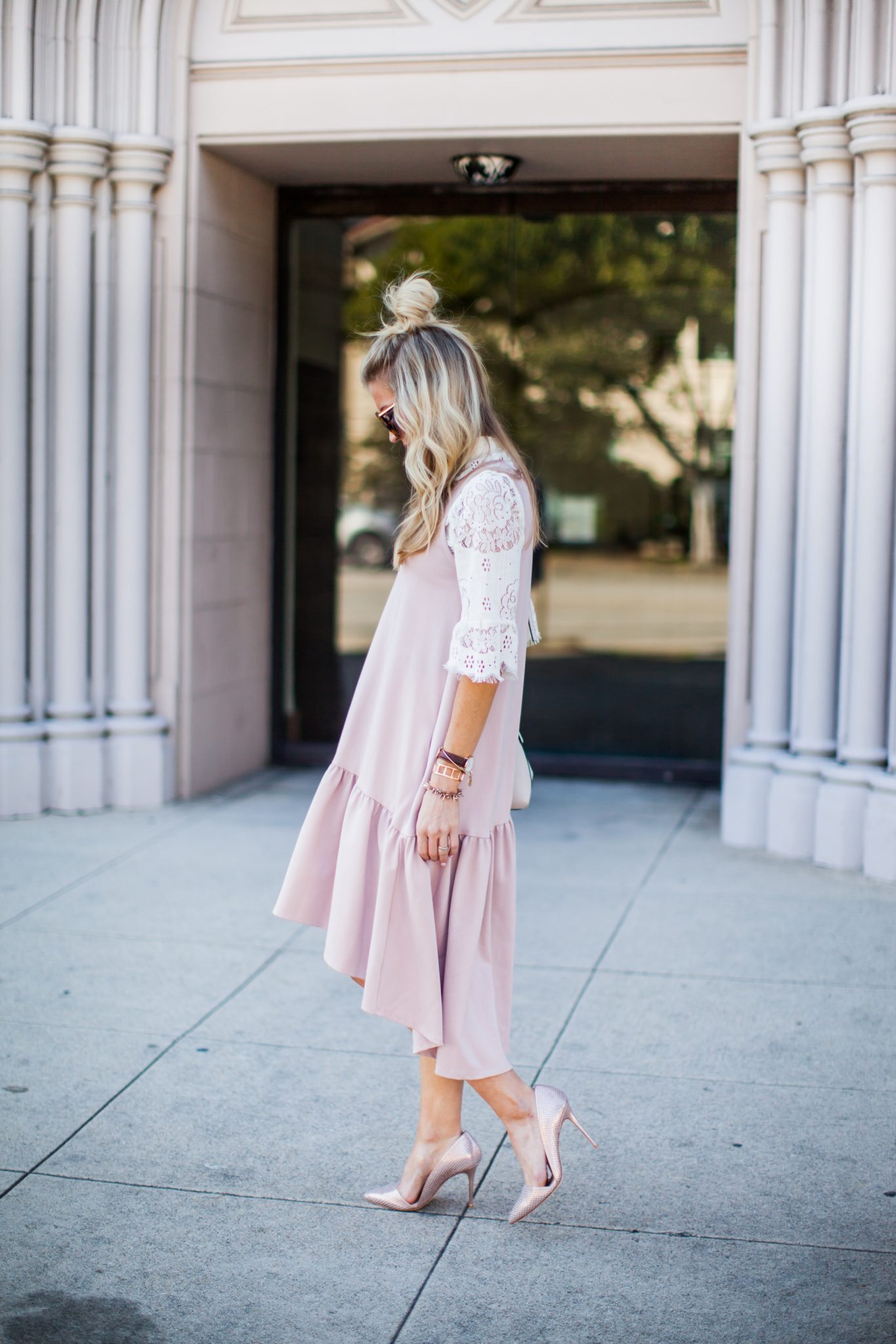 Blush ruffle drop waist dress + lace top