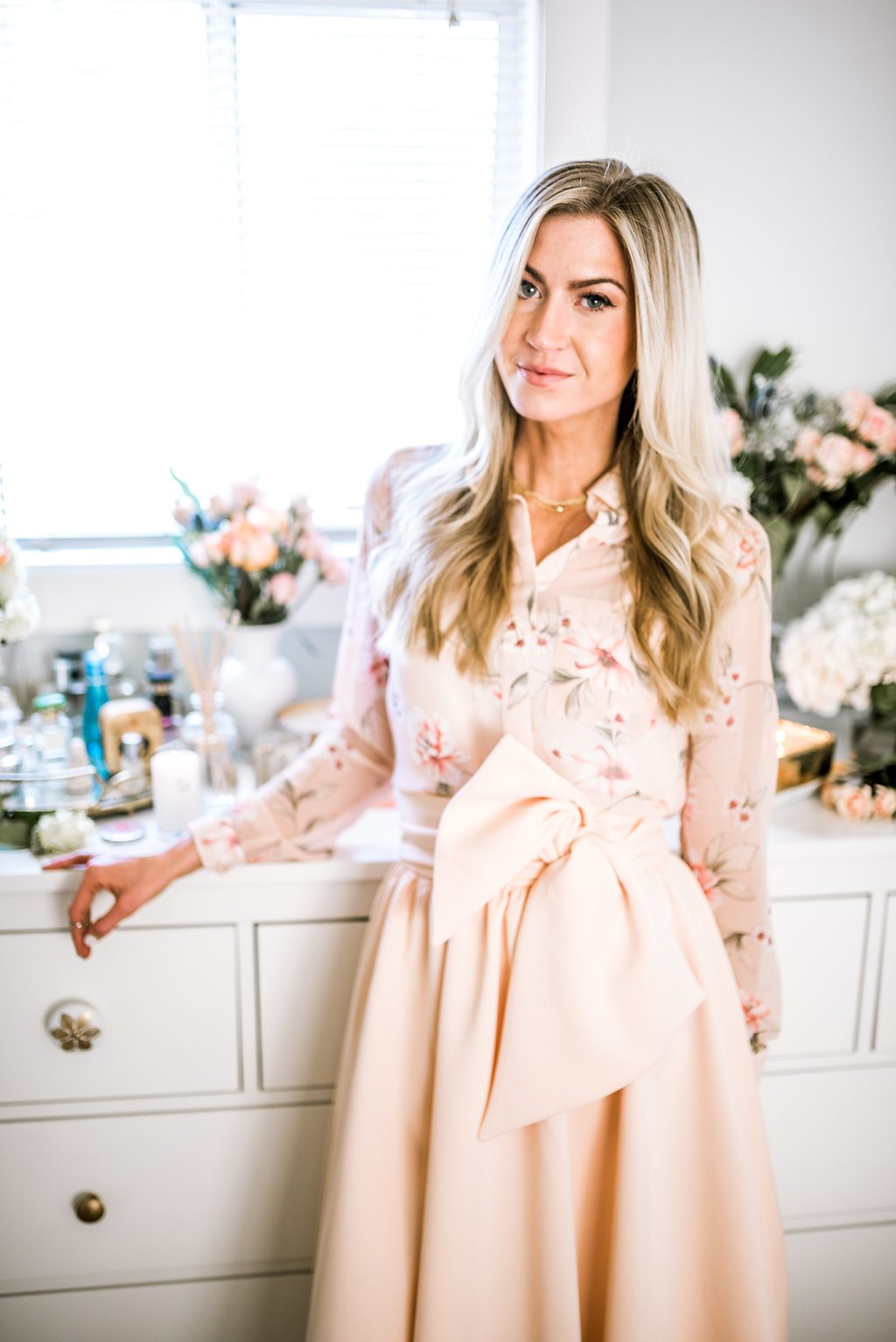 Blush bow skirt + floral top