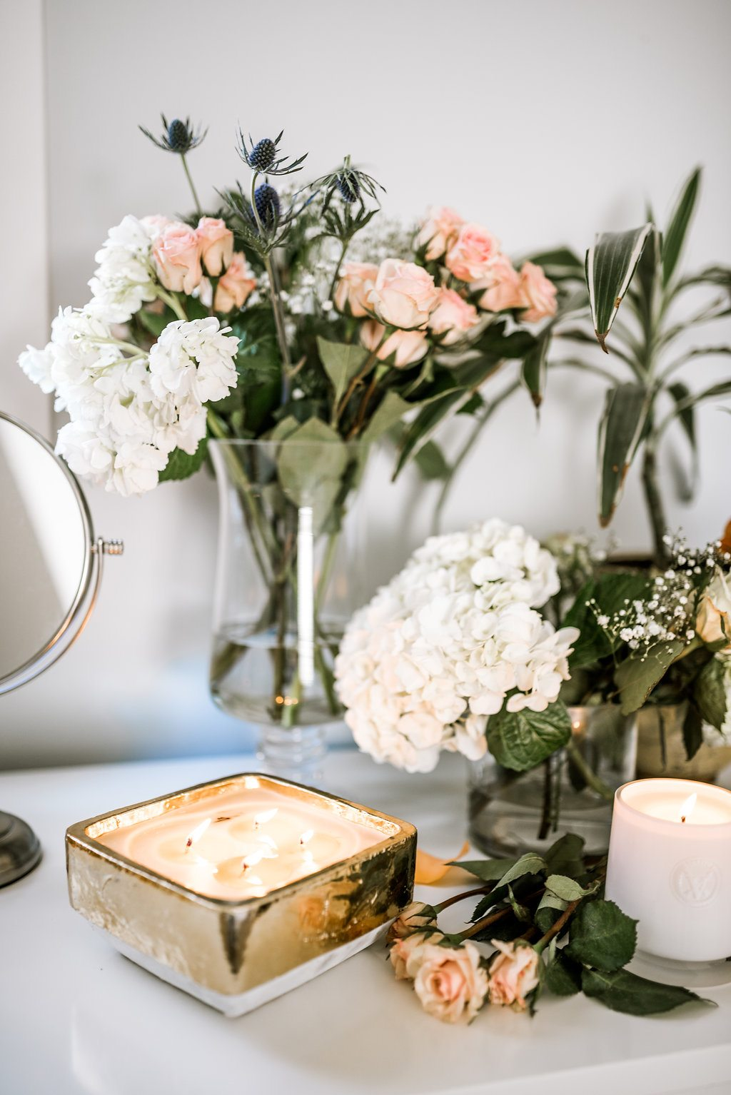 Floral vanity styling.