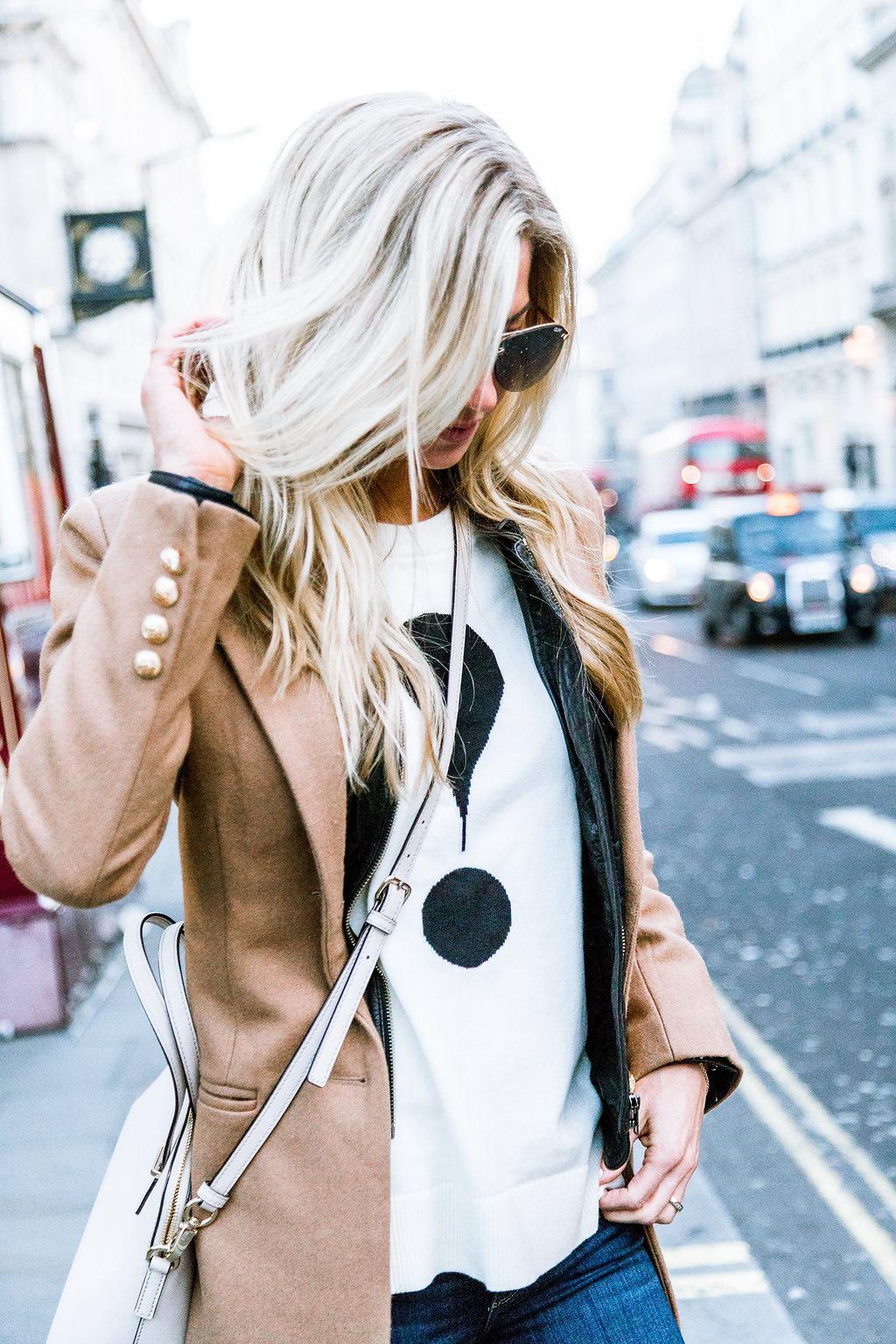 Camel coat + leather jacket