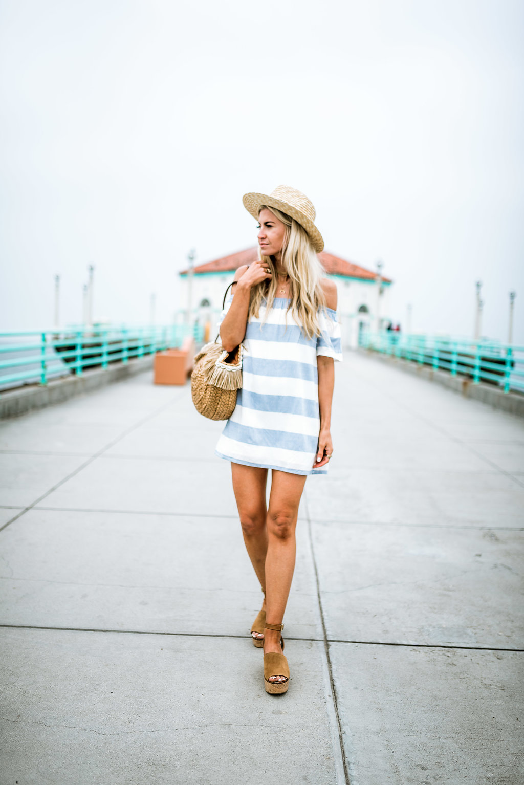 Blue + white striped off the shoulder dress.