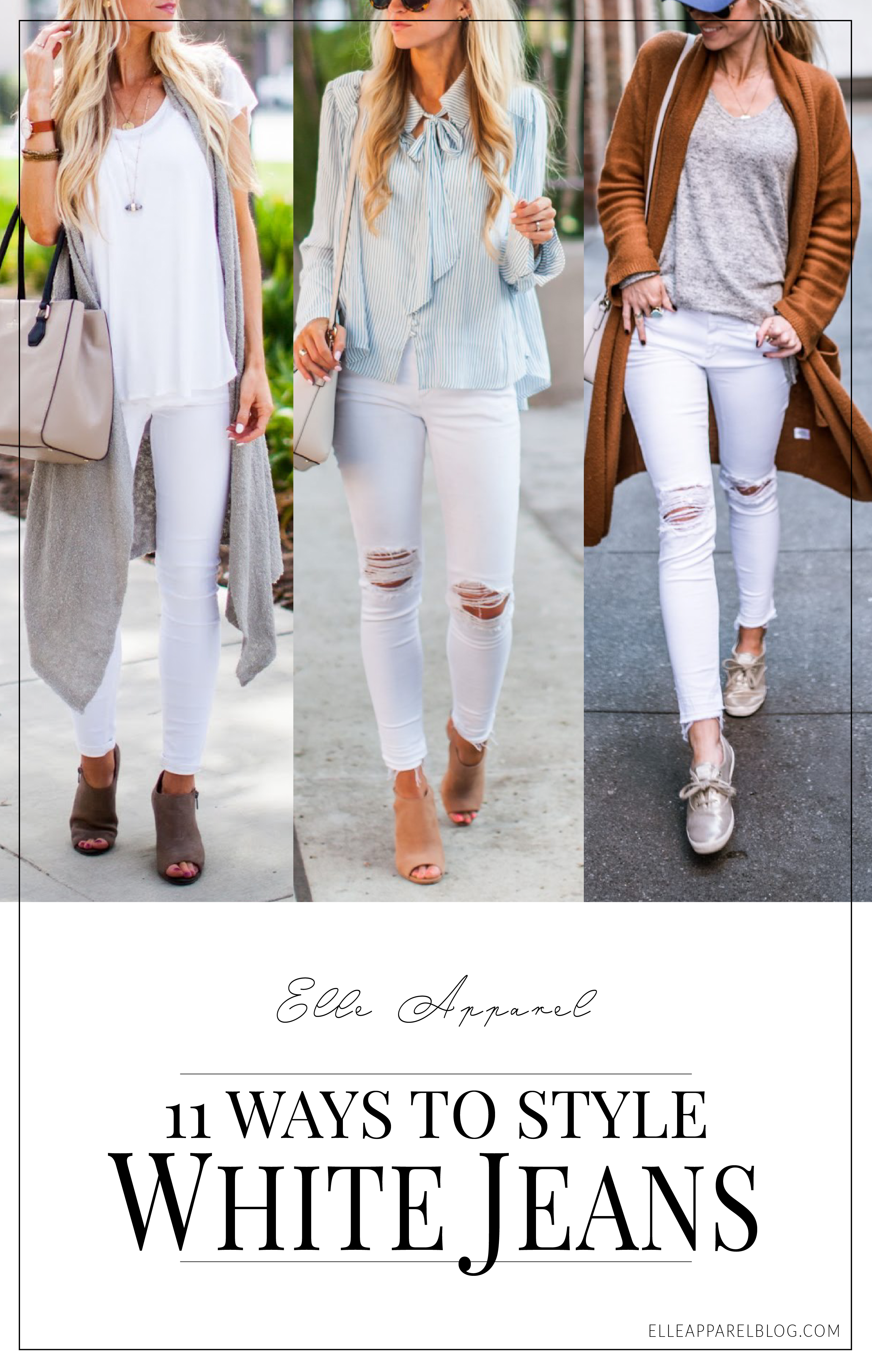 11 ways to style your white jeans this spring.