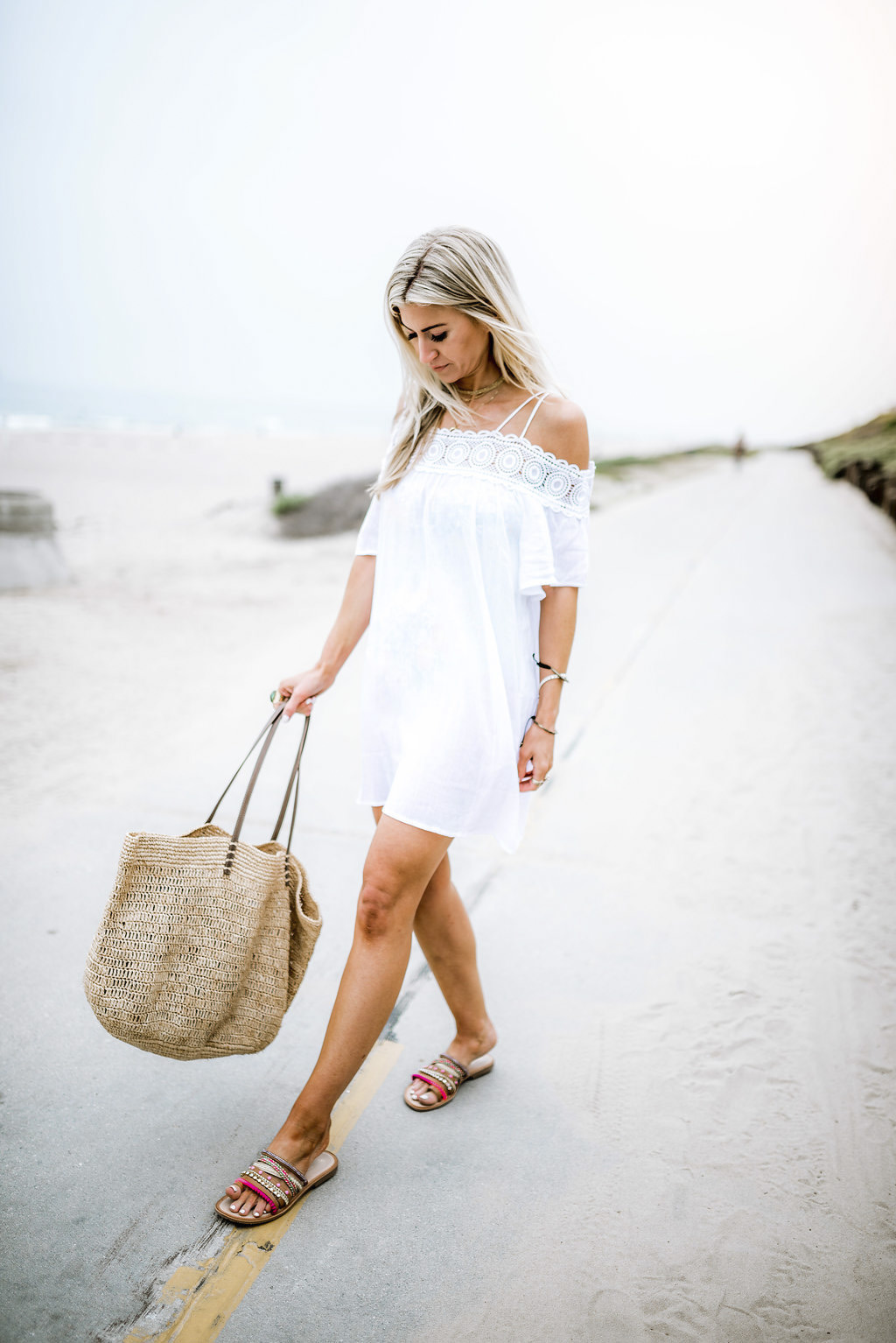 White crochet swim cover-up
