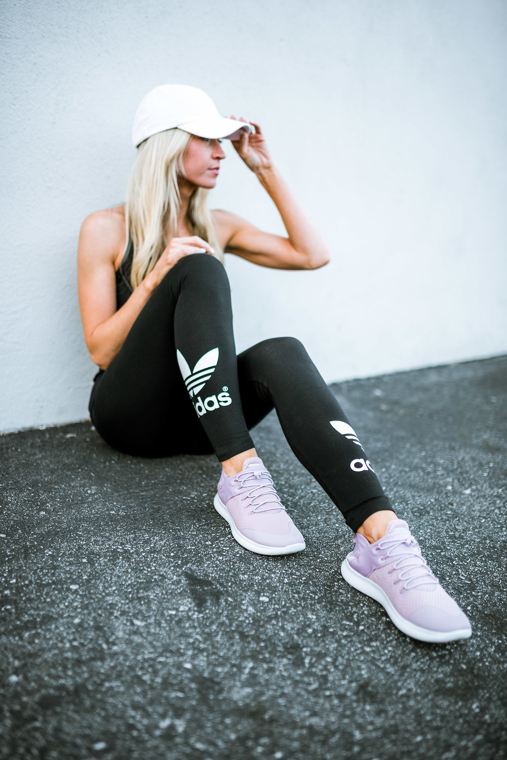 All black + lilac sneakers- workout look.