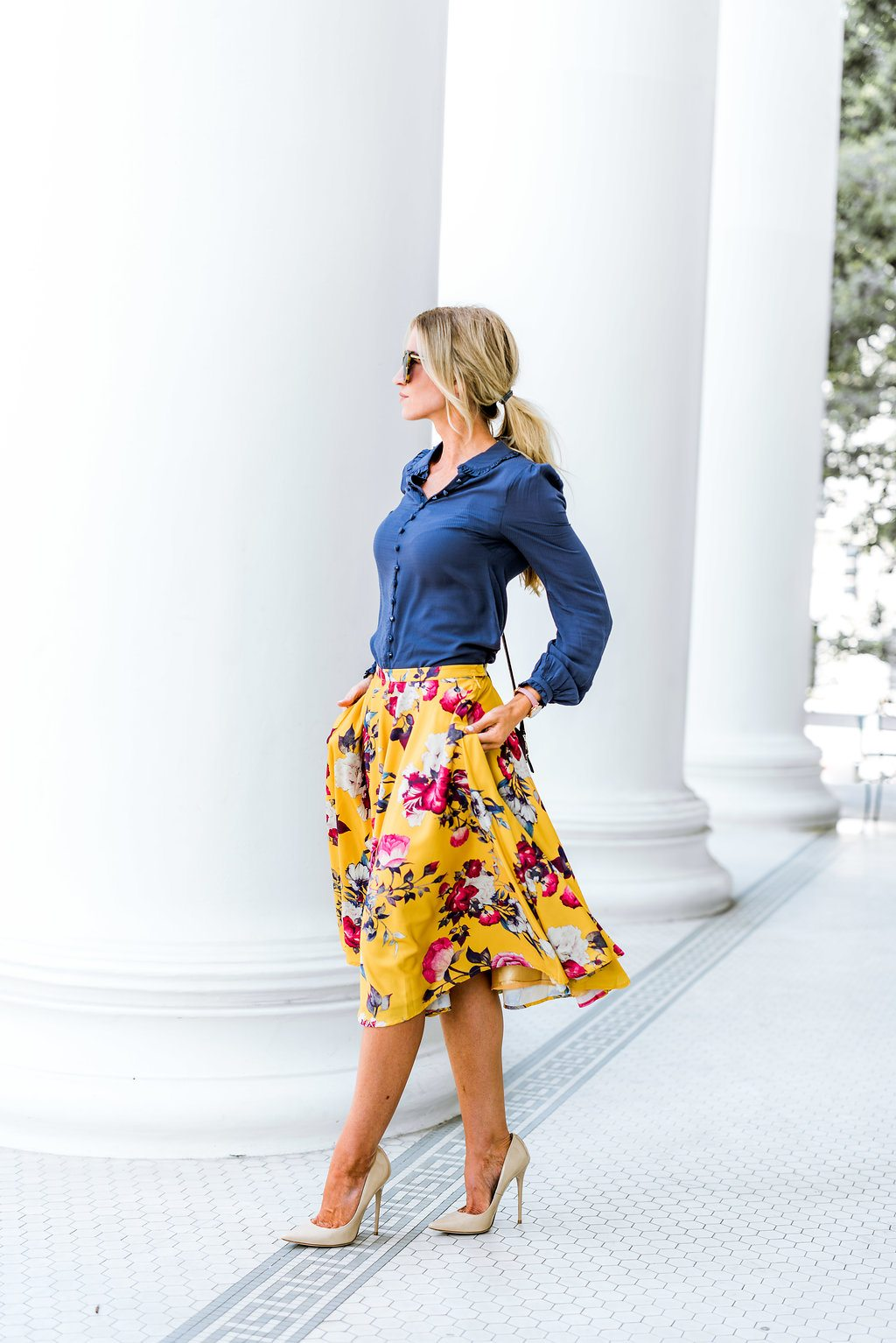 Golden floral skirt for fall.