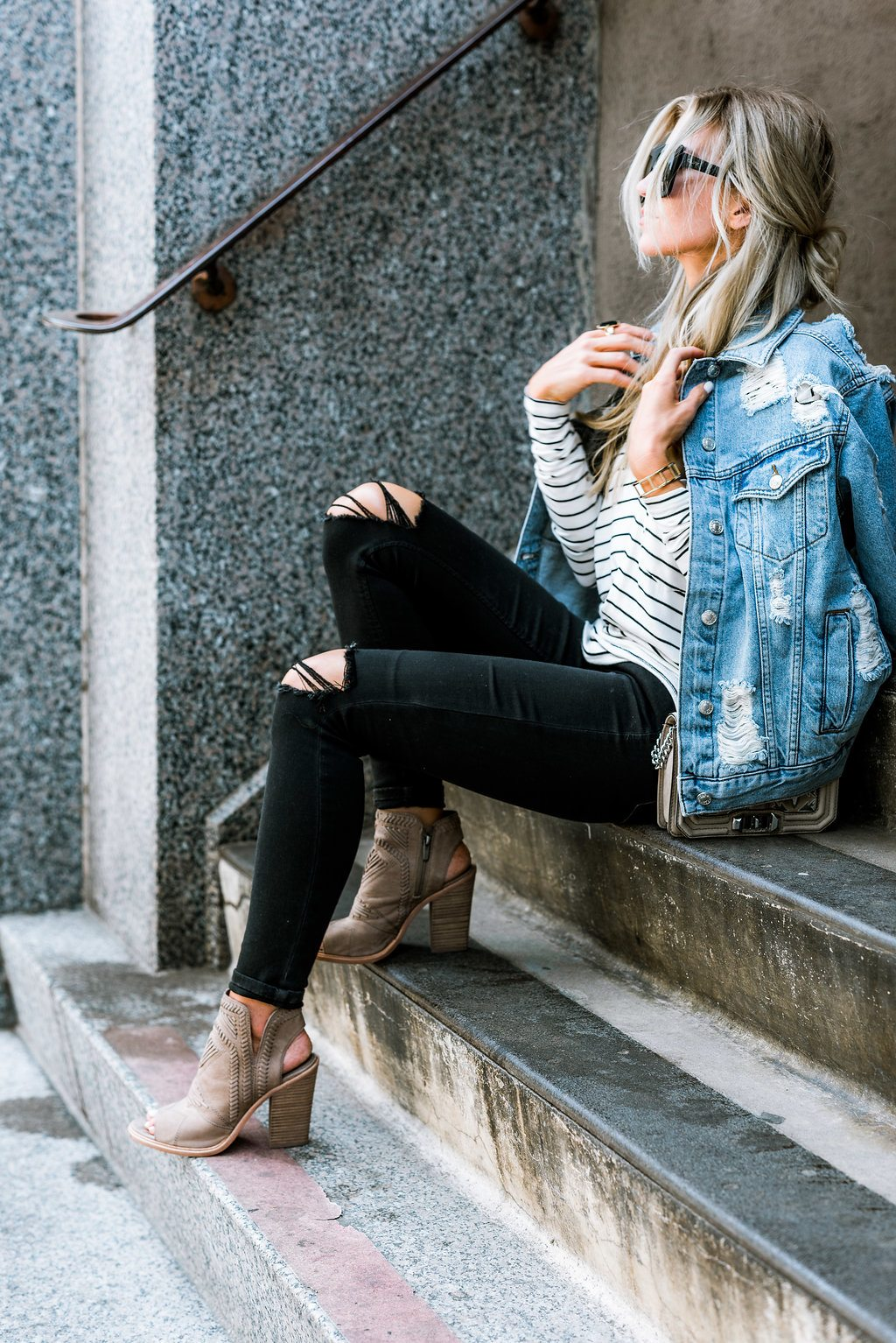 Distressed denim jacket + stripes + booties.