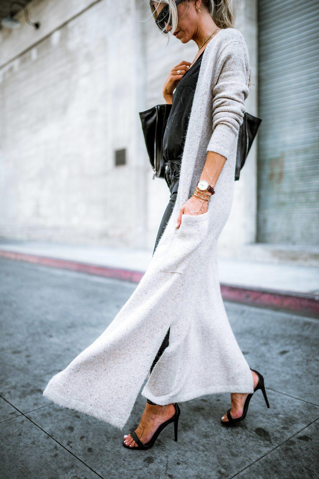 All black + floor length cardigan for fall.