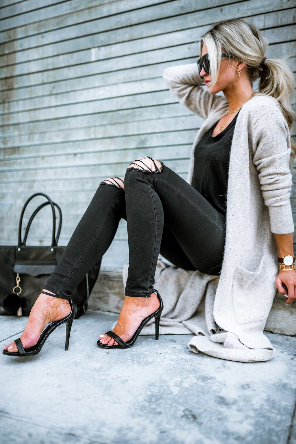 All black + floor length cardigan for fall.