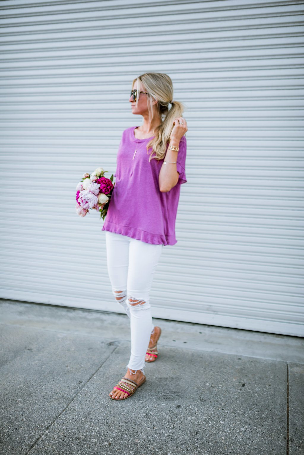 Orchid ruffle top.
