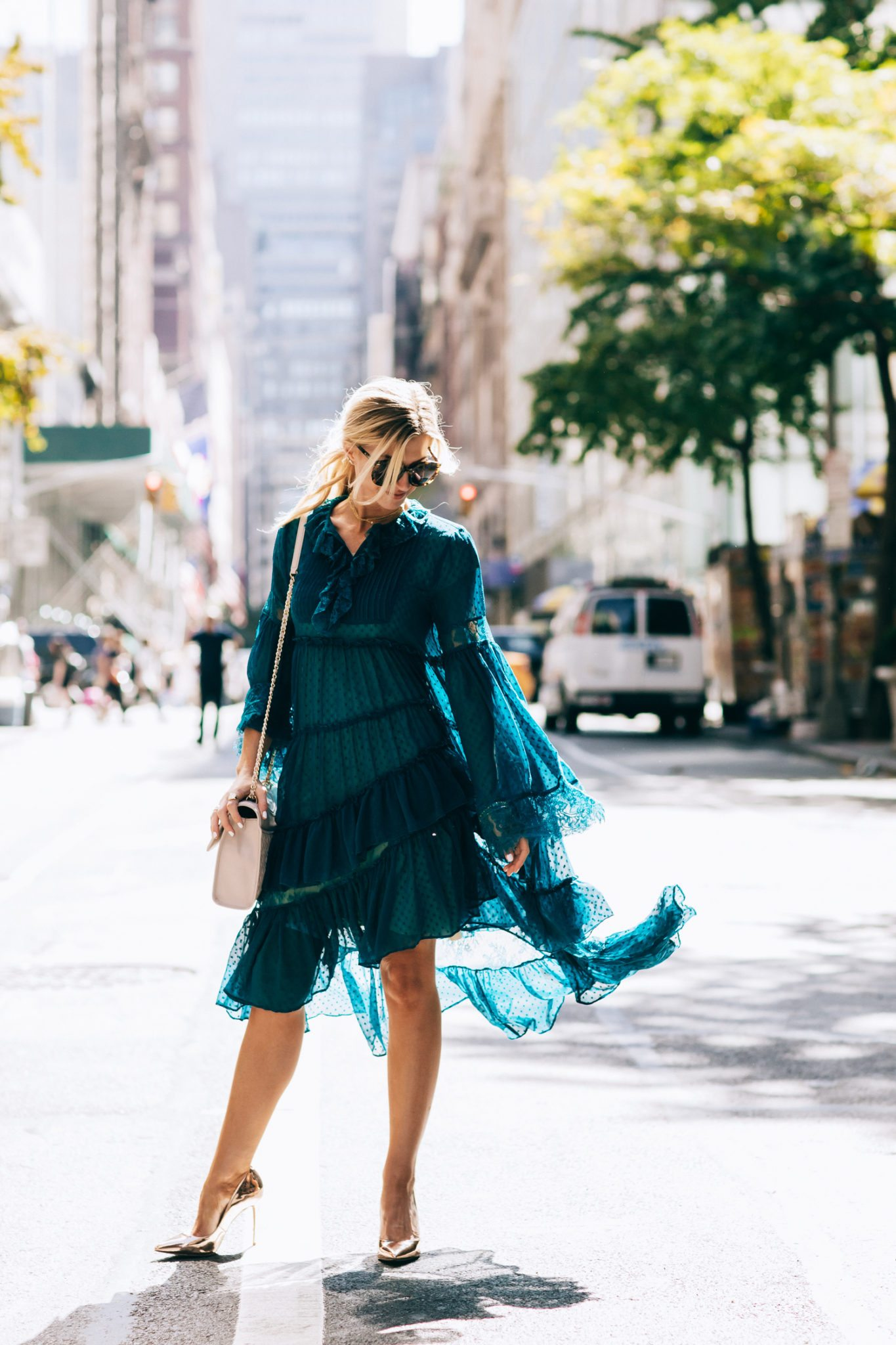 Ruffle lace turquoise dress.