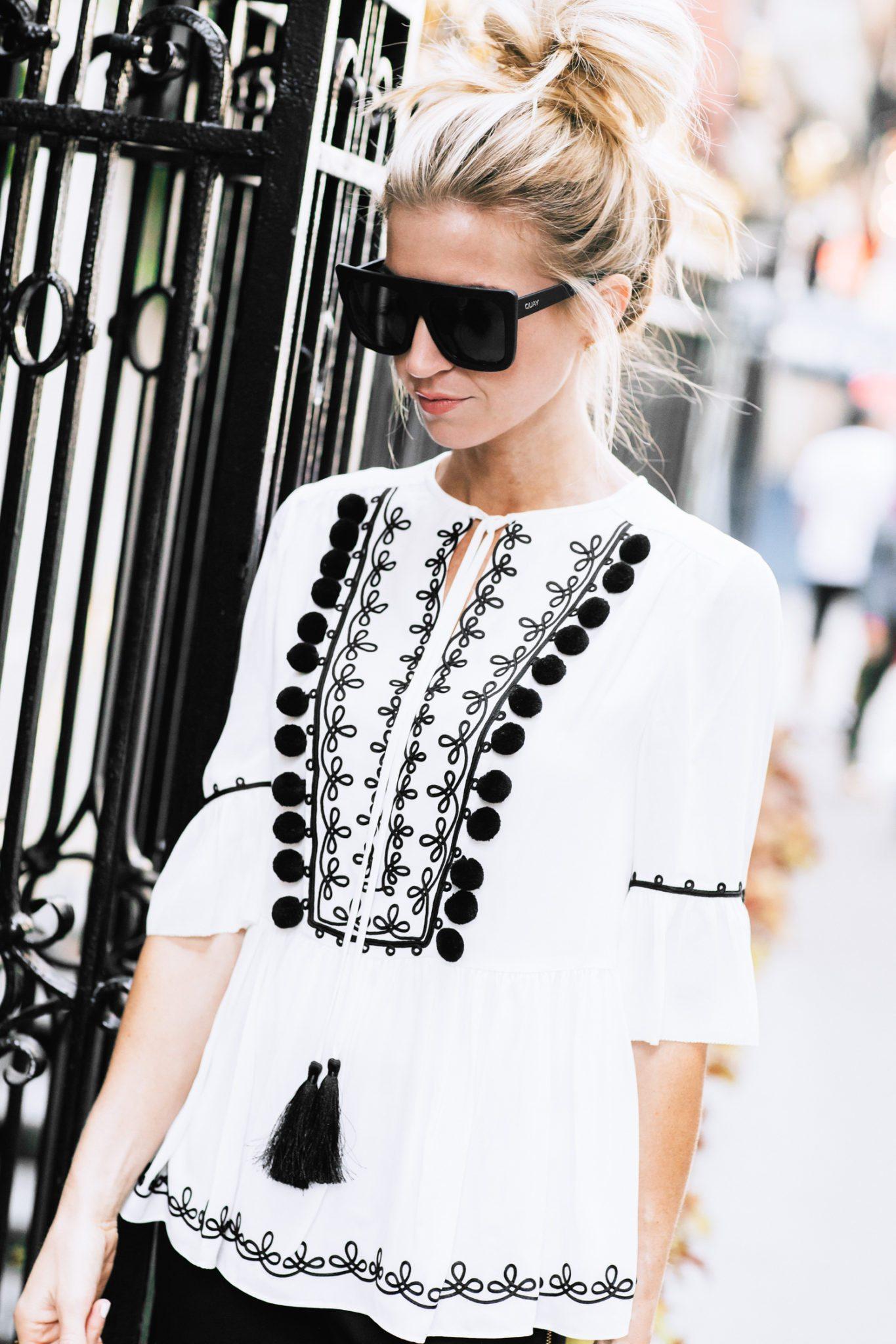 Black and white + embellished details.
