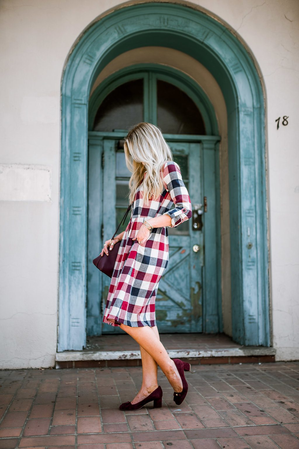 Plaid dress perfect for fall.