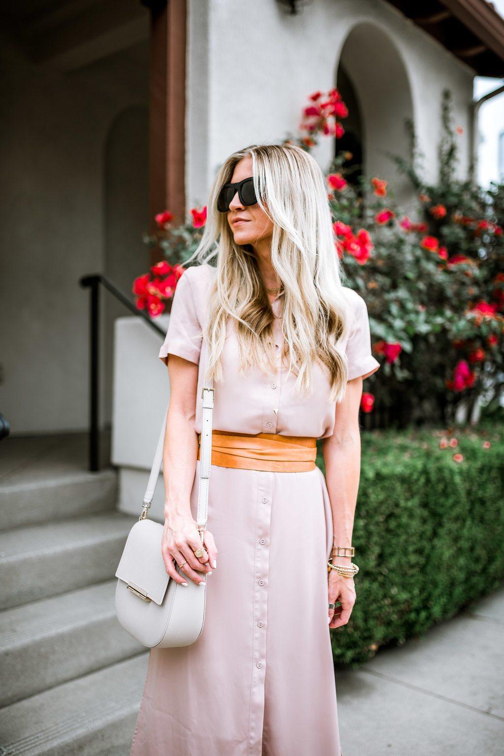 Blush button-up dress + wrap belt