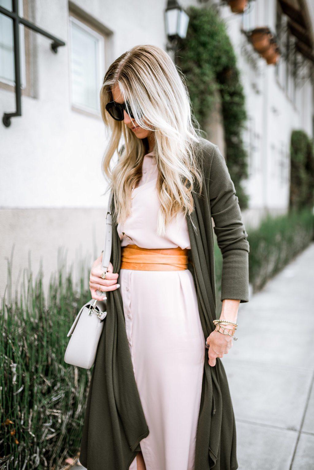 Blush dress + olive cardigan