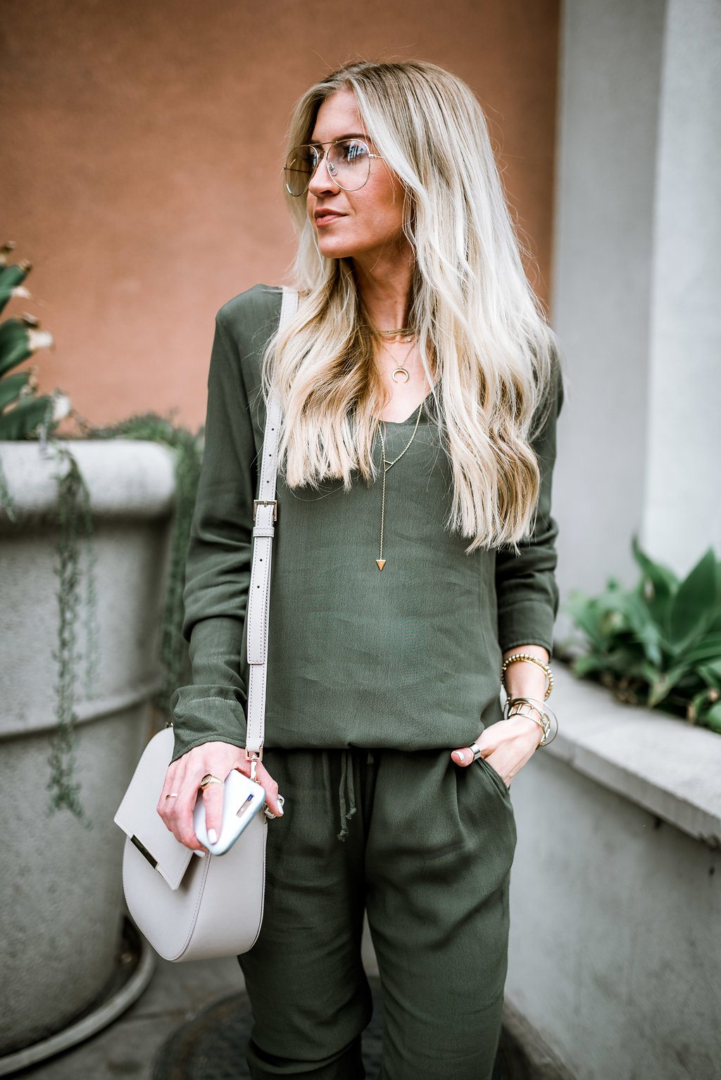 Olive jumpsuit for fall.