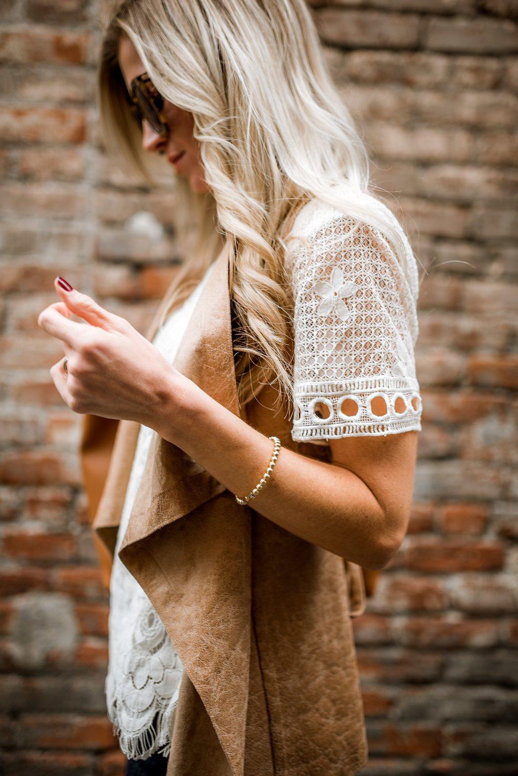 Cognac leather vest + lace top