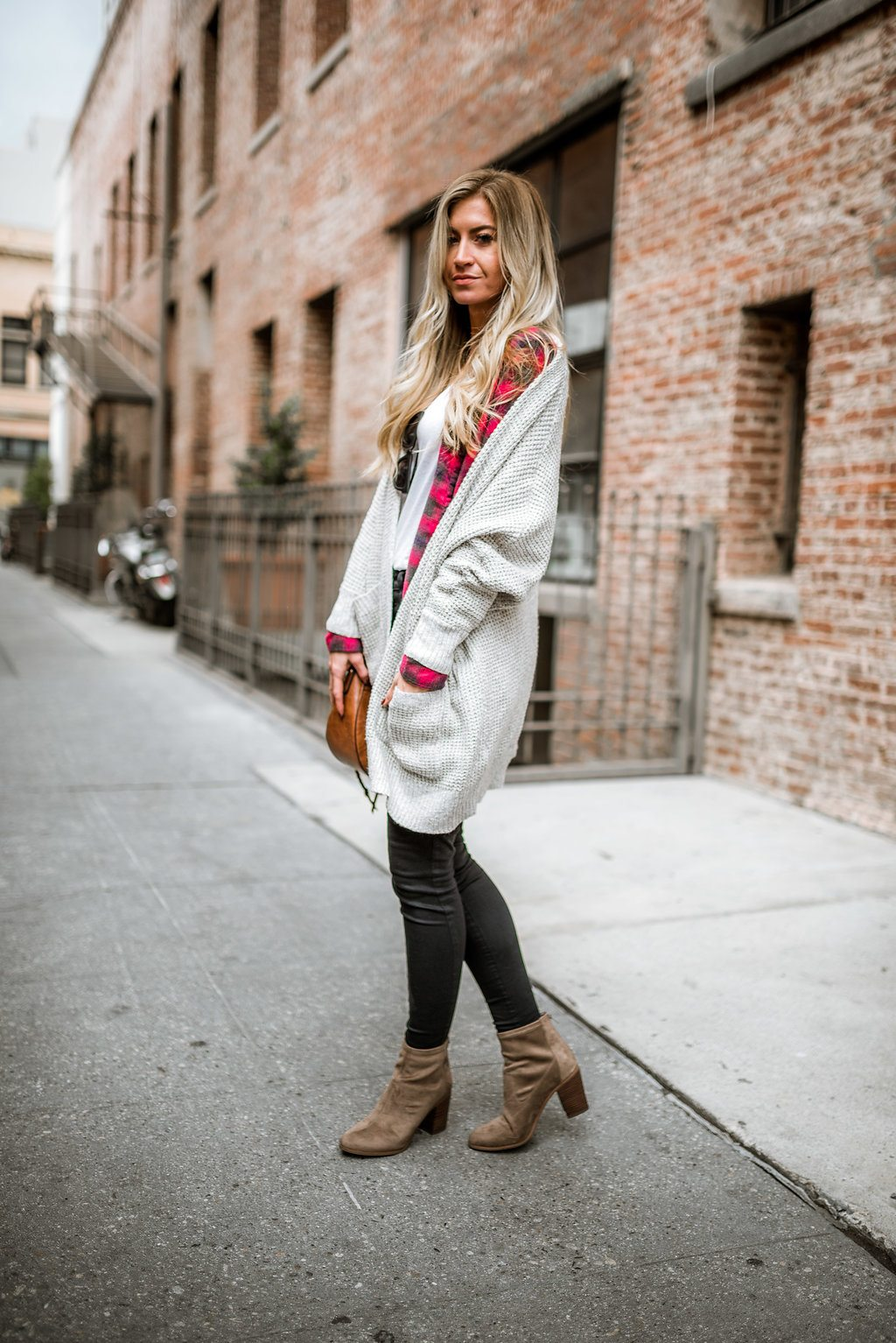 Cozy fall plaid + oversized cardigan