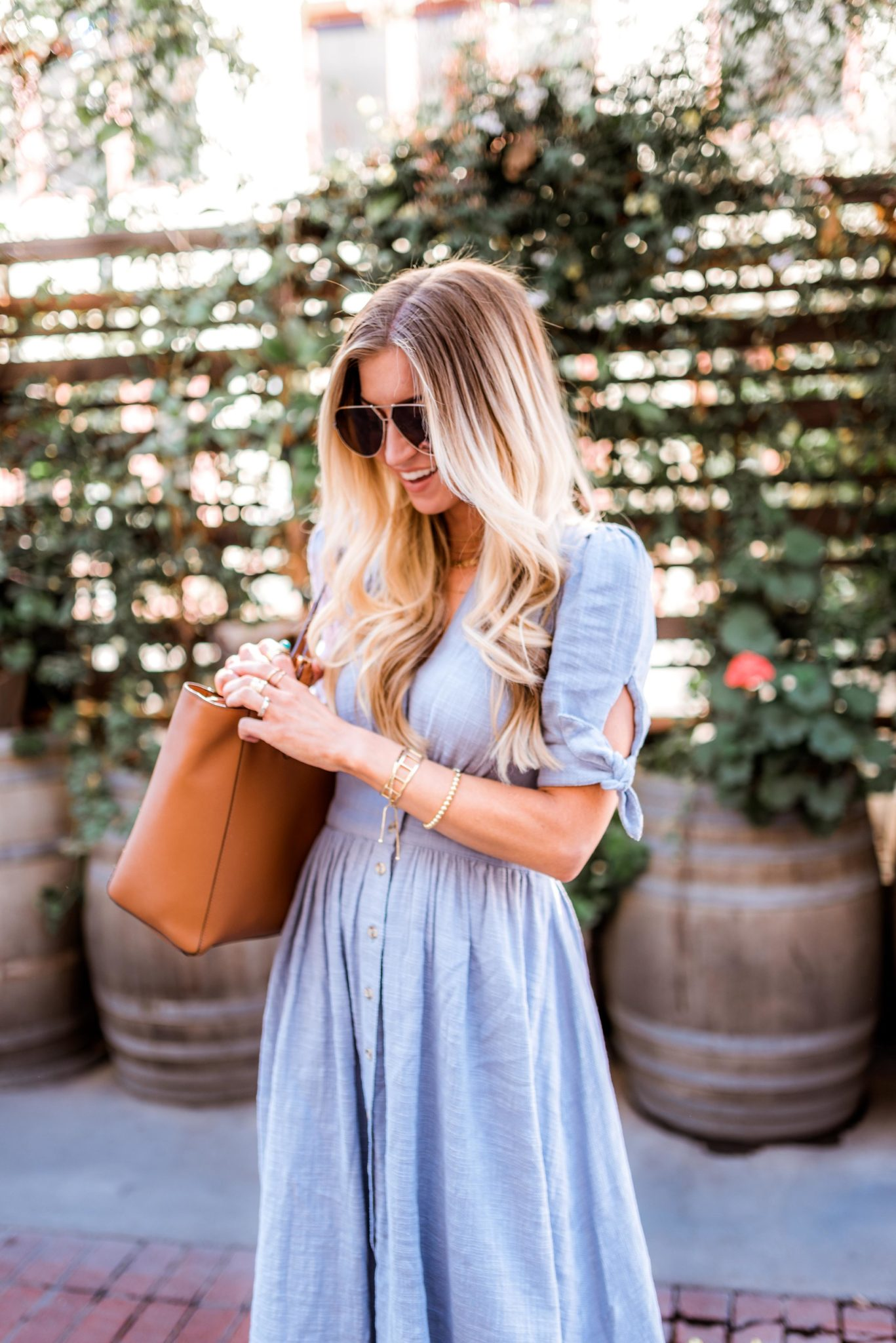 Blue Chambray button-up spring dress