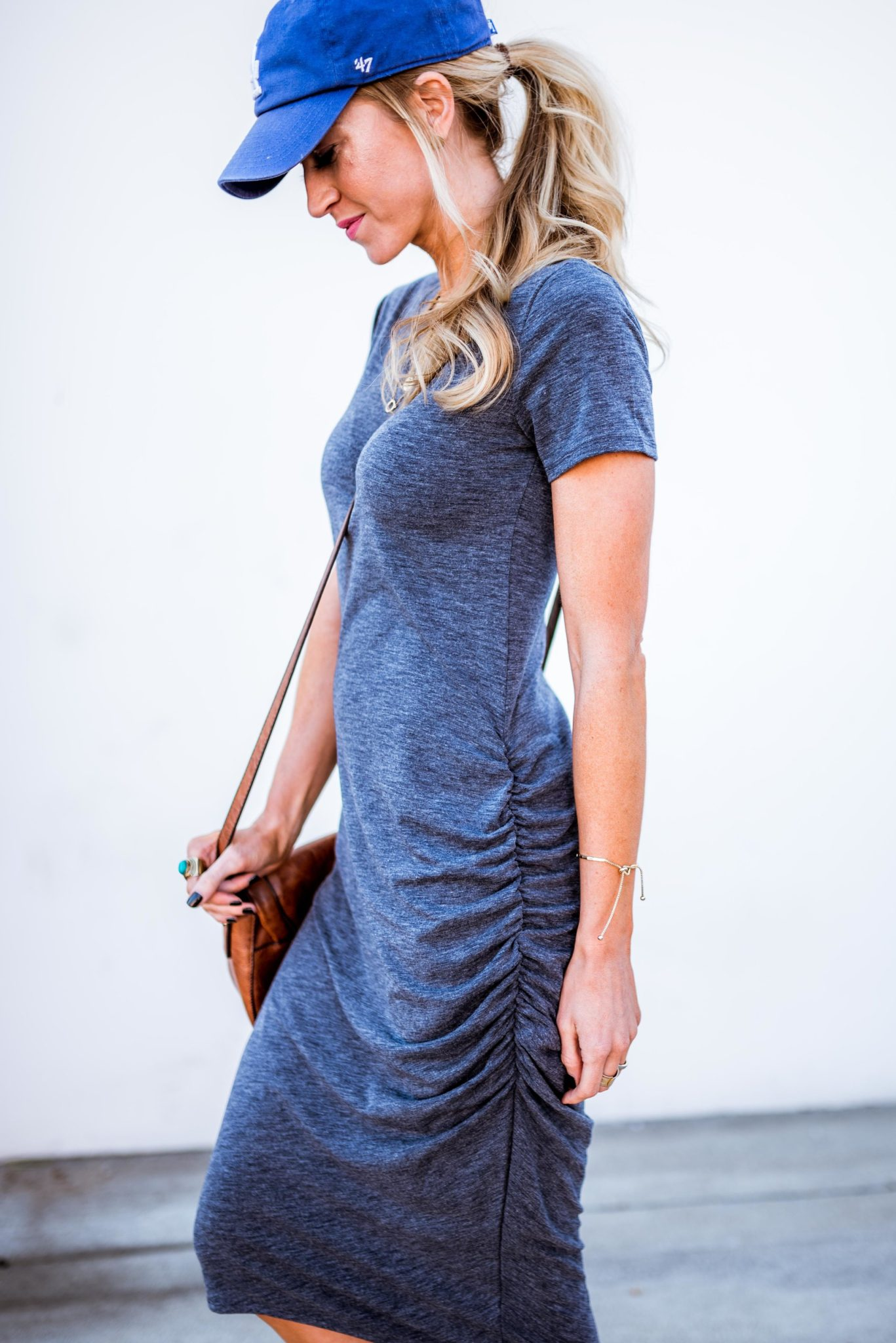Ruched t-shirt dress, perfect for Spring and Summer.