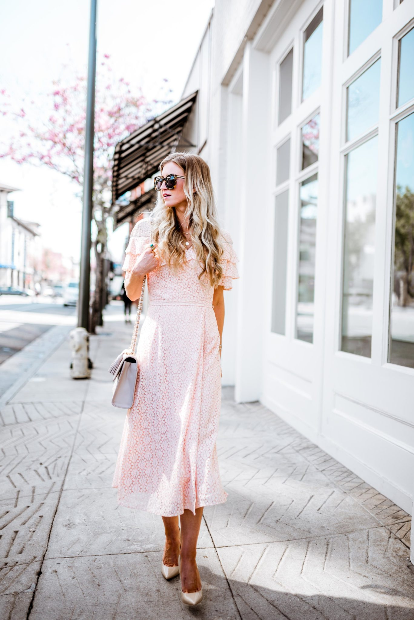 Blush lace ruffled Easter dress
