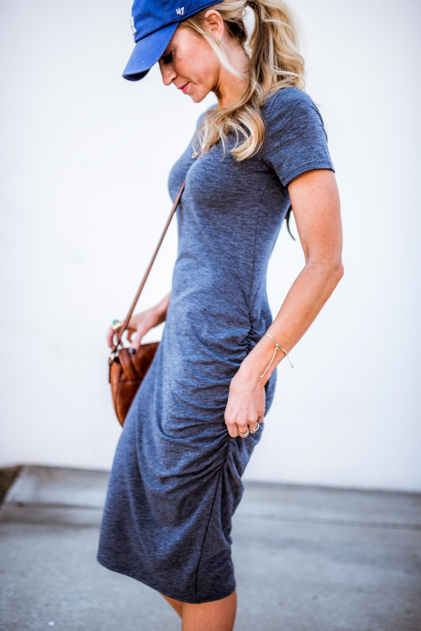 Navy Ruched t-shirt dress, perfect for Spring and Summer.