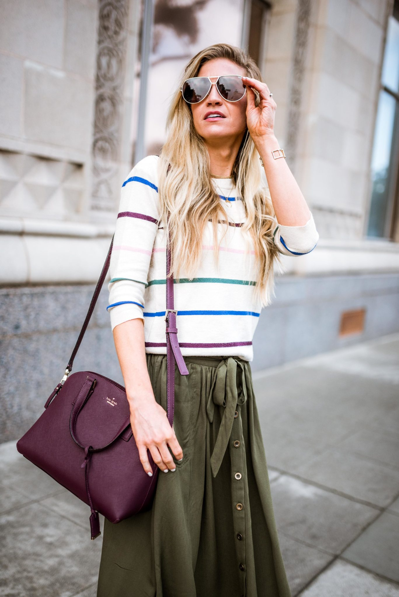Leanne Barlow - Striped sweater + olive green skirt
