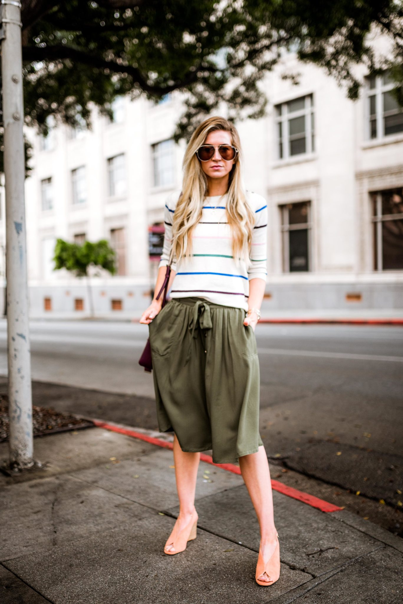 Striped sweater + olive green skirt - Leanne Barlow
