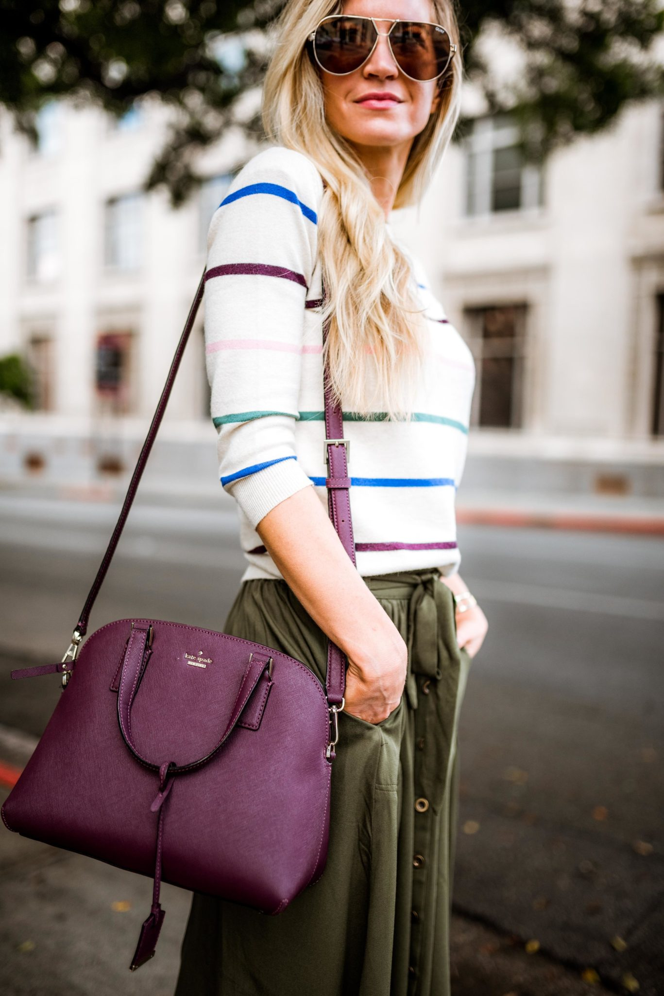Striped sweater + olive green skirt + kate spade bag
