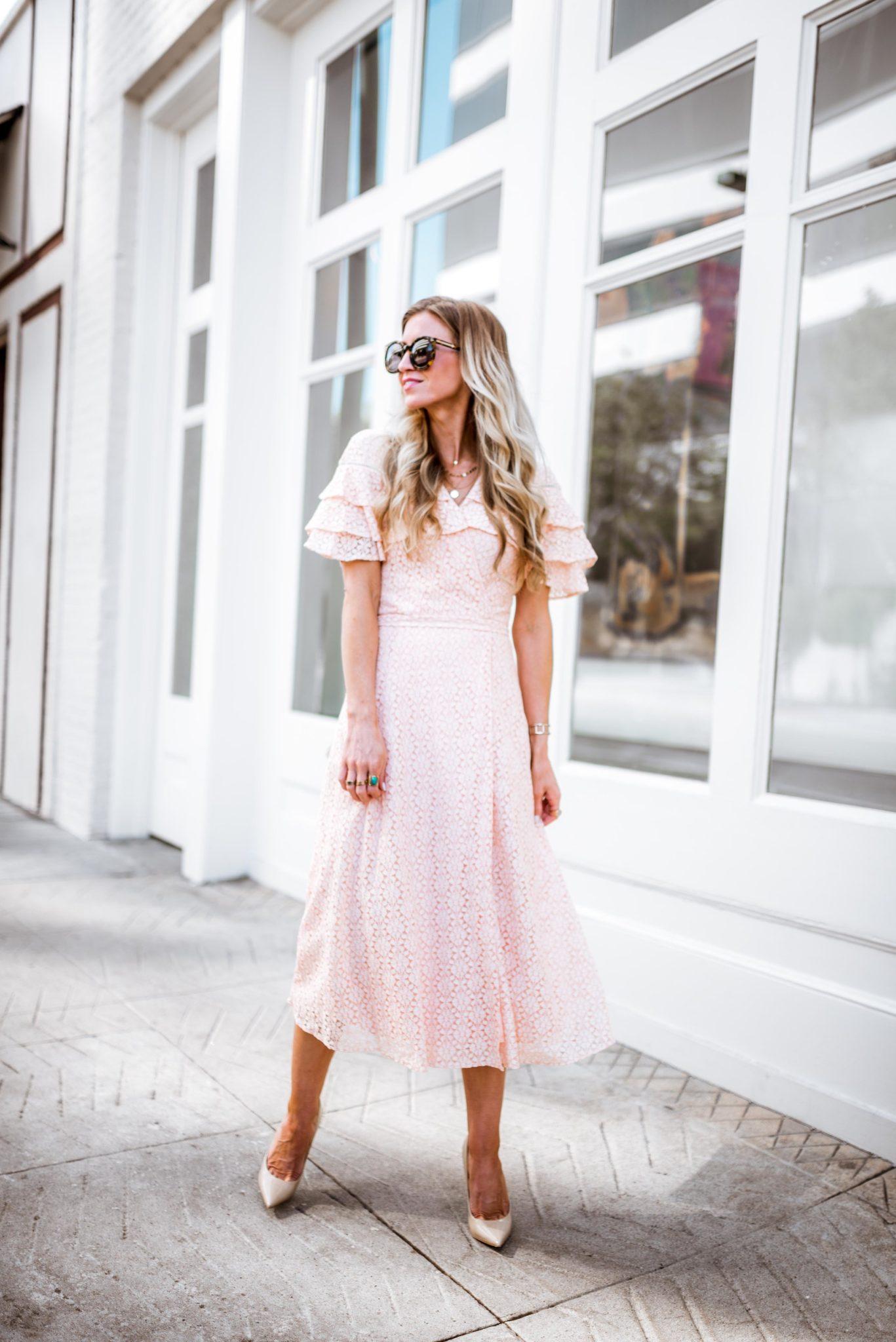 Blush lace ruffled Easter dress