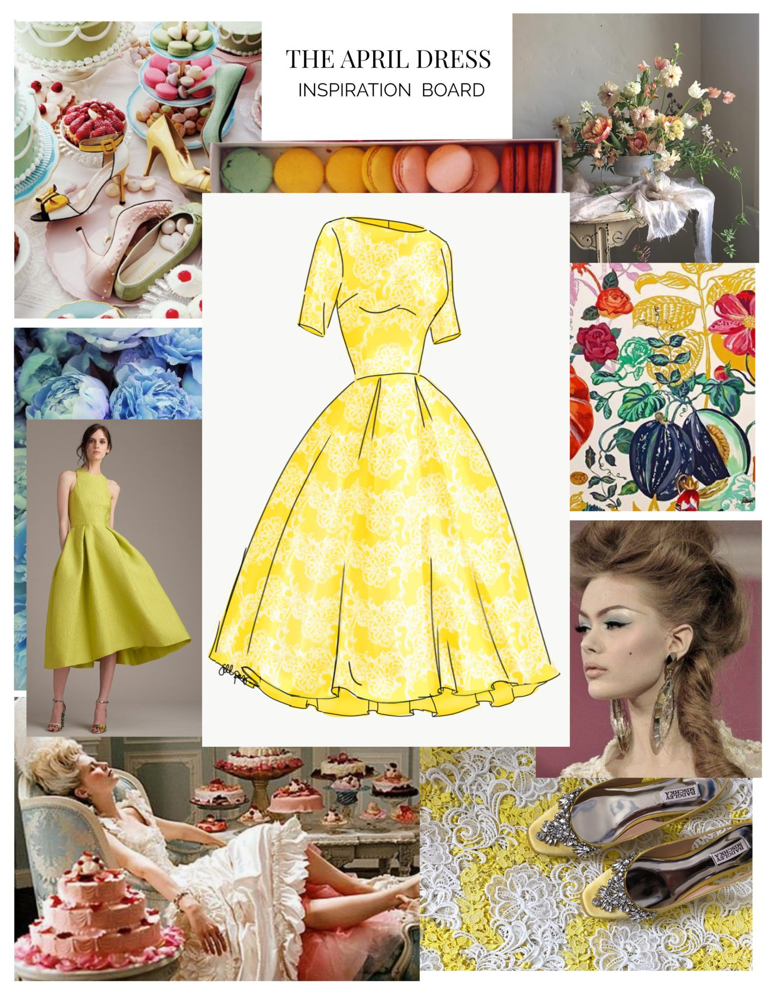 The April Dress Inspiration Board, part of The Monthly Dress Series by Leanne Barlow