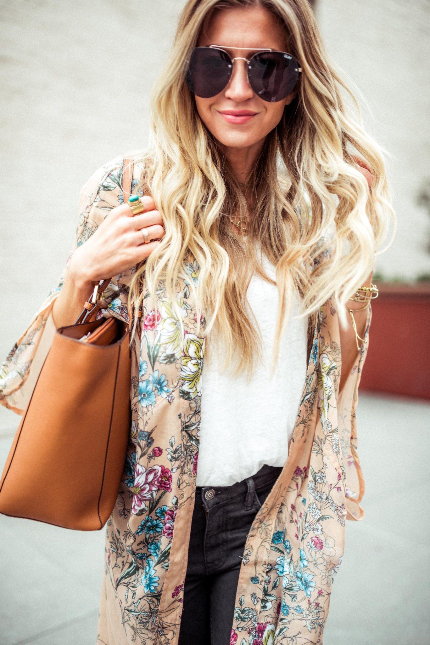 Long floral kimono.