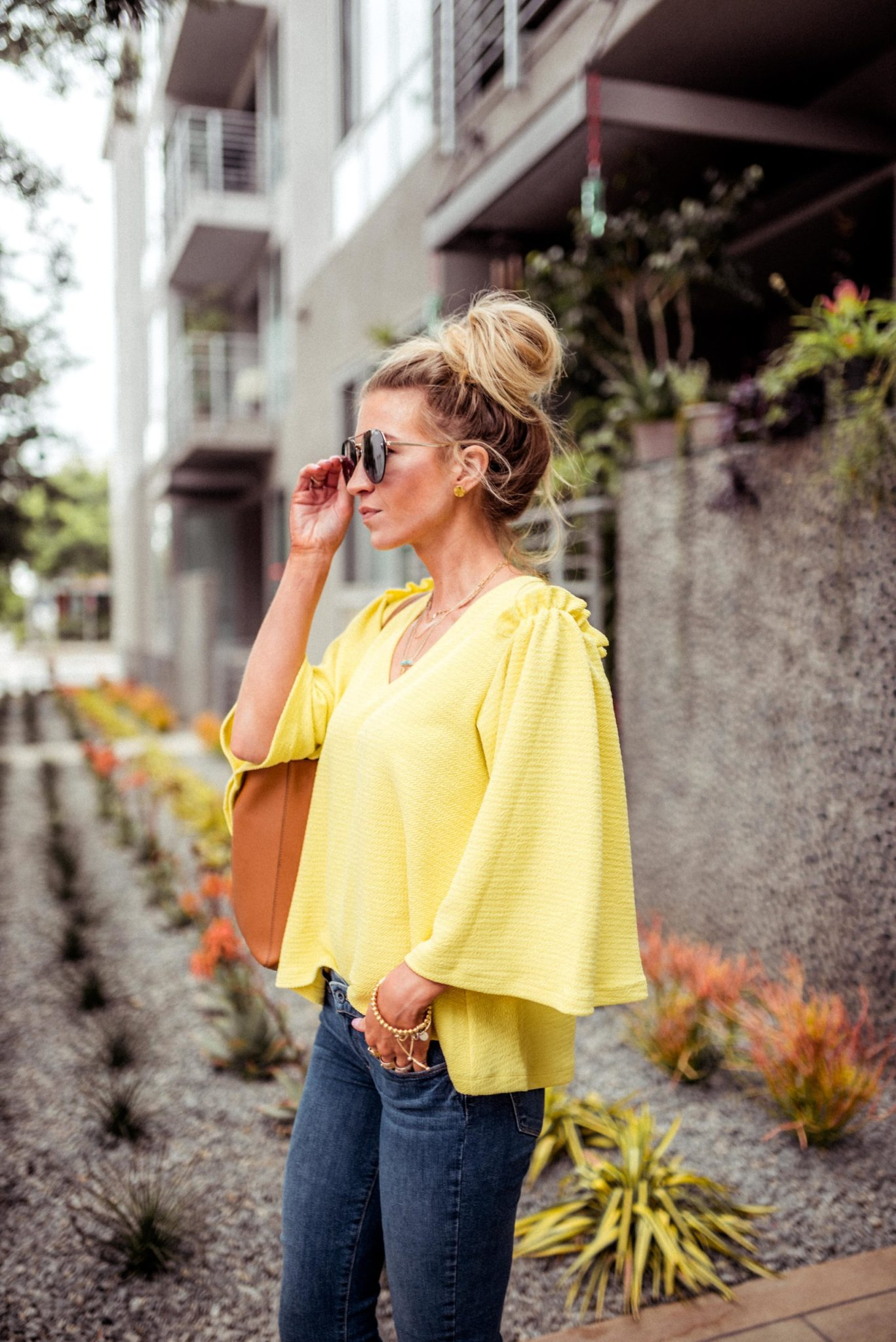 Yellow favorites! A bell sleeve top for spring